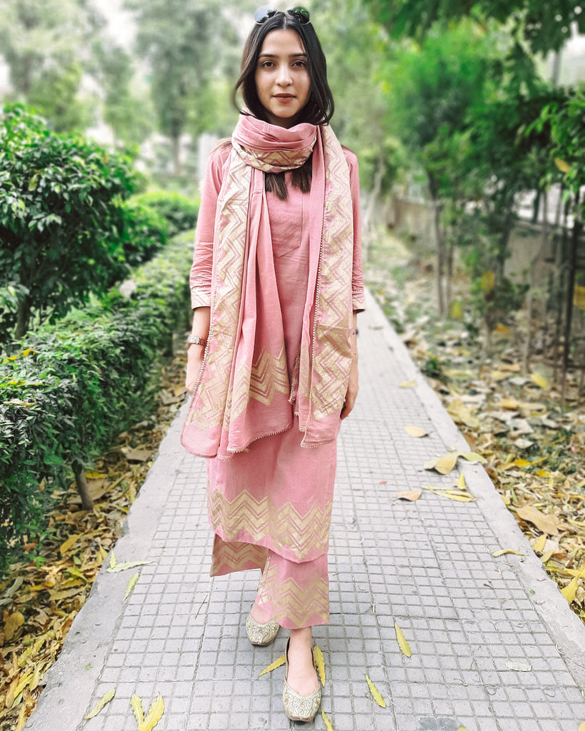 Old Rose Printed Salwaar Kameez set-Kuri Set-THE HEMMING BIRD-6degree.store