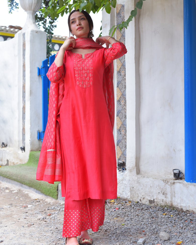 Candy Apple Red Salwar Kameez-Kurti Set-THE HEMMING BIRD-6degree.store
