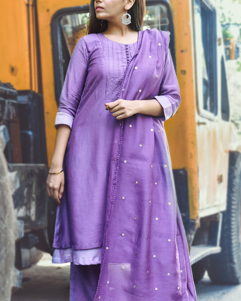 Periwinkle and radiant orchid double layered muslin set-Kurta Set-THE HEMMING BIRD-6degree.store