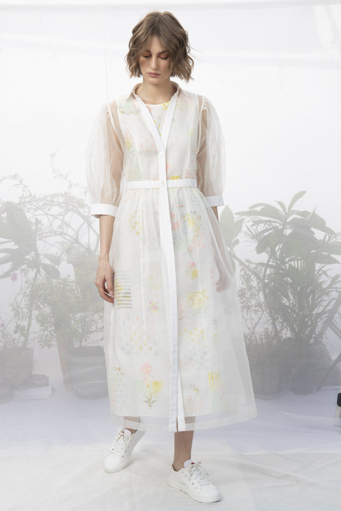 Ivory Hand Block Printed Double Layer Dress-Dress-ARCVSH by Pallavi Singh-6degree.store