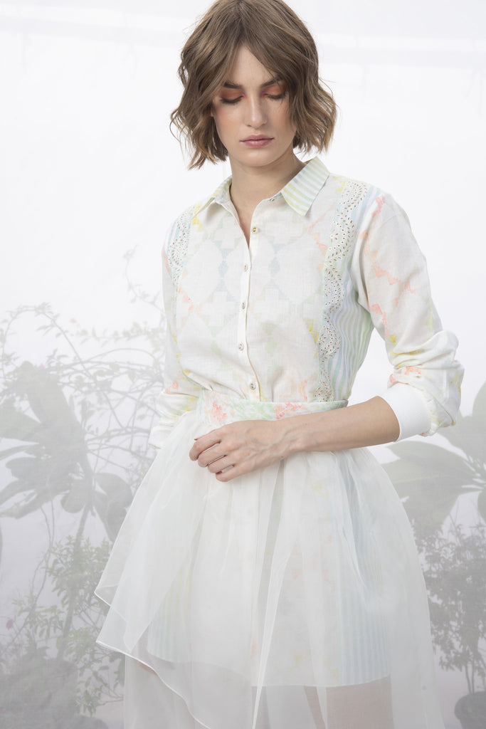 Ivory Printed Shirt With Layered Skirt-shirt-ARCVSH by Pallavi Singh-6degree.store