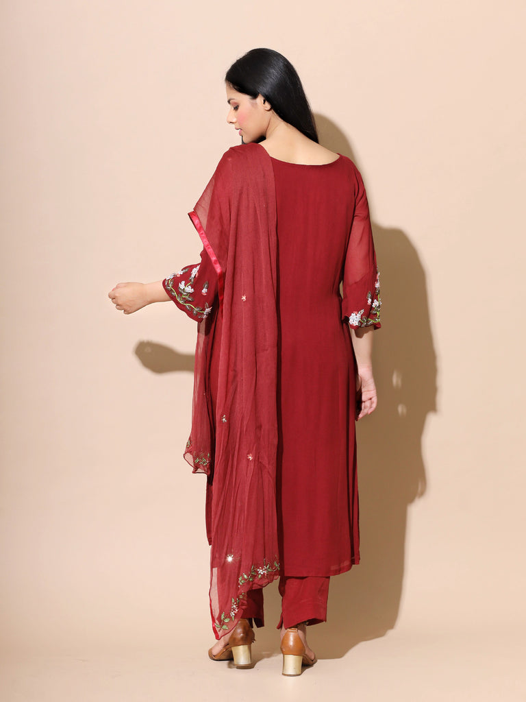 Wine Red Tunic Set-Tunic Set-SYLK BY AANCHAL-6degree.store
