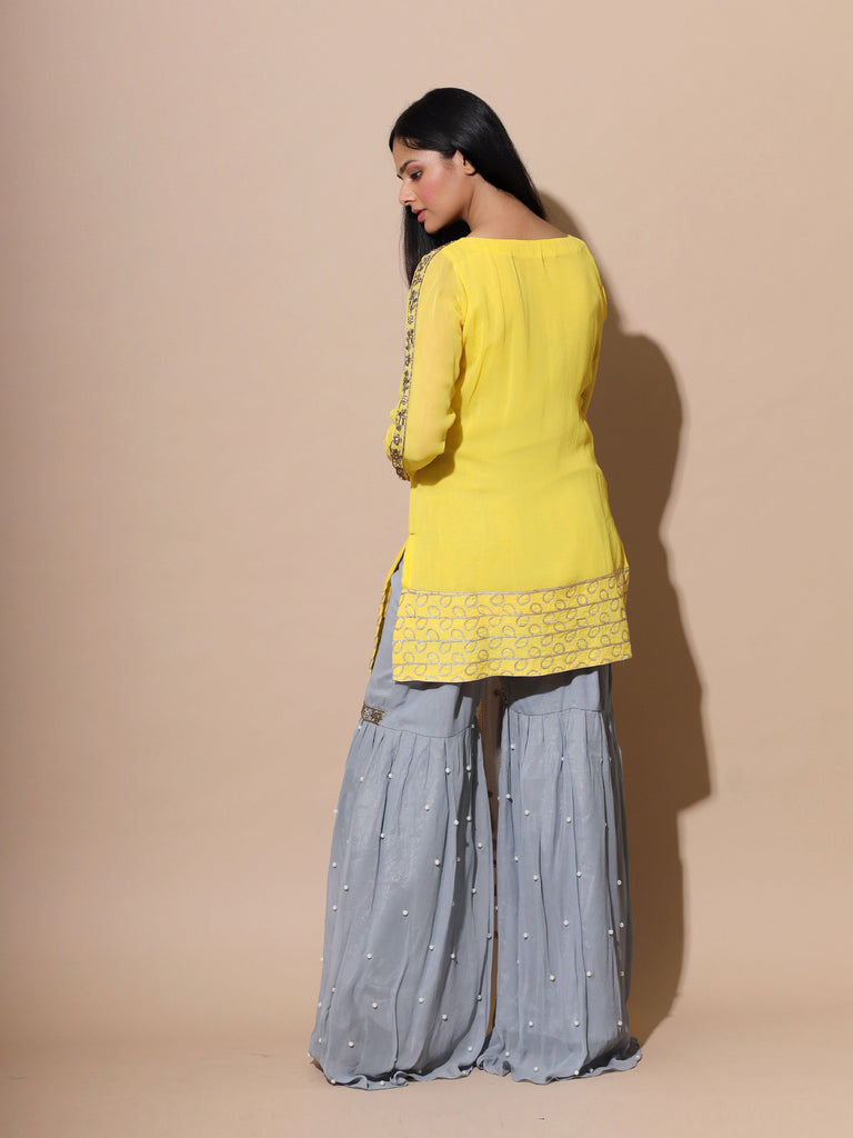 Yellow Grey Sharara Set-Sharara set-SYLK BY AANCHAL-6degree.store