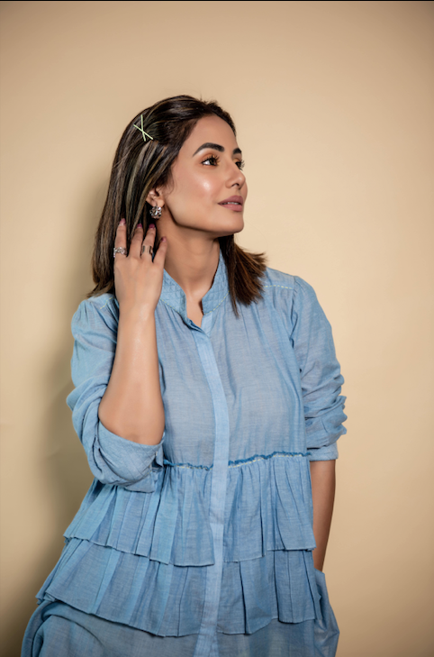 Hina Khan Blue Tiered Top-Top-ARCVSH by Pallavi Singh-6degree.store