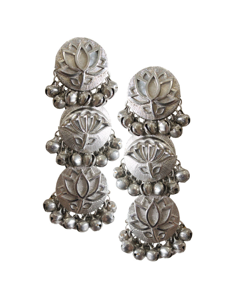 Taapsee Pannu | Silver Lotus Danglers-Accessories-HYPERBOLE-6degree.store