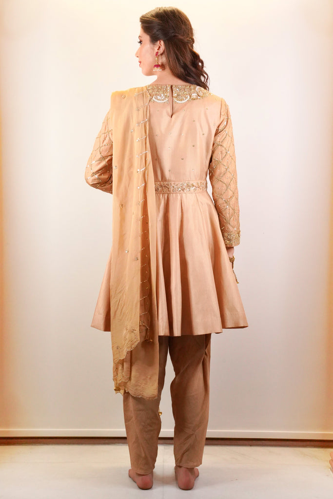 Gold Embellished Short Anarkali With Dhoti And Dupatta-Anarkali-SIMRAT MARWAH-6degree.store