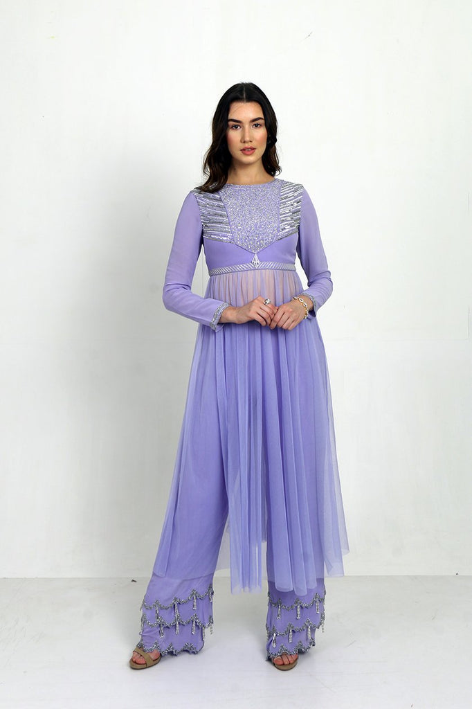 Lavender Anarkali With 3 Tier Trouser.-Anarkali-SIMRAT MARWAH-6degree.store