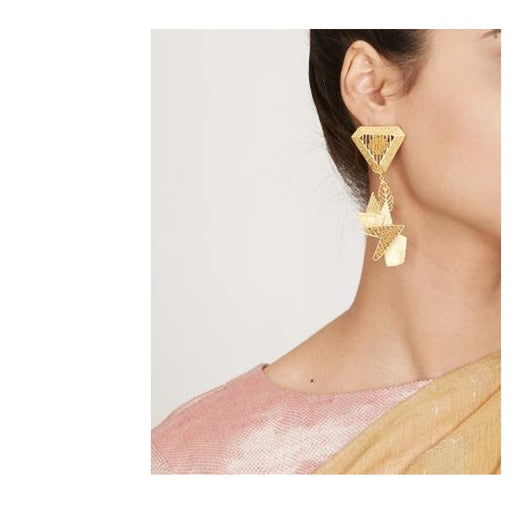 Earrings Tri Golden-Accessories-ITRANA-6degree.store