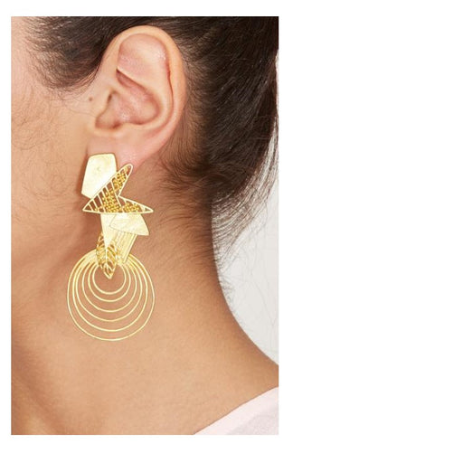 Earrings Round Golden-Accessories-ITRANA-6degree.store