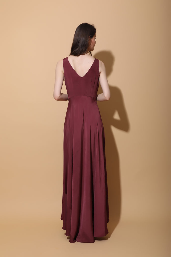 Burgundy Button Down Maxi Dress-Dress-TORQADORN-6degree.store