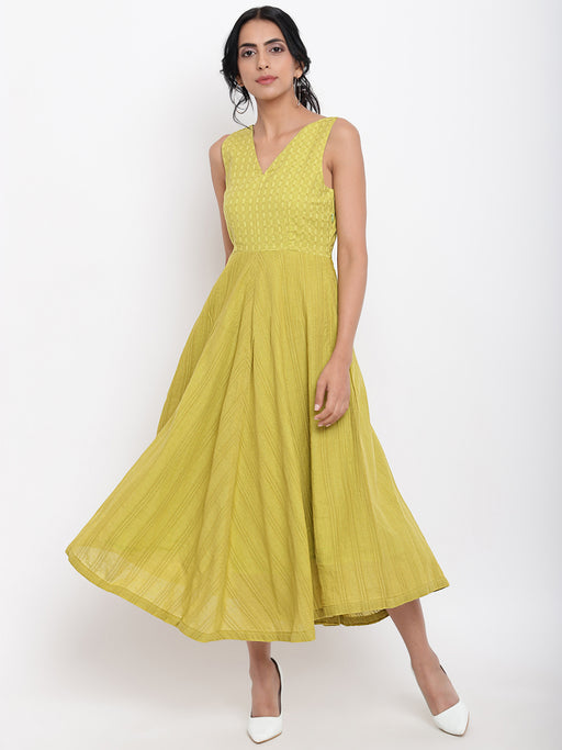 Green Cotton Panelled Flare Dress-Dress-TRUE BROWNS-6degree.store