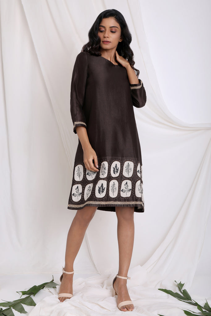 DARK BROWN MARKED BY NATURE A LINE DRESS-Dress-AKAT-6degree.store