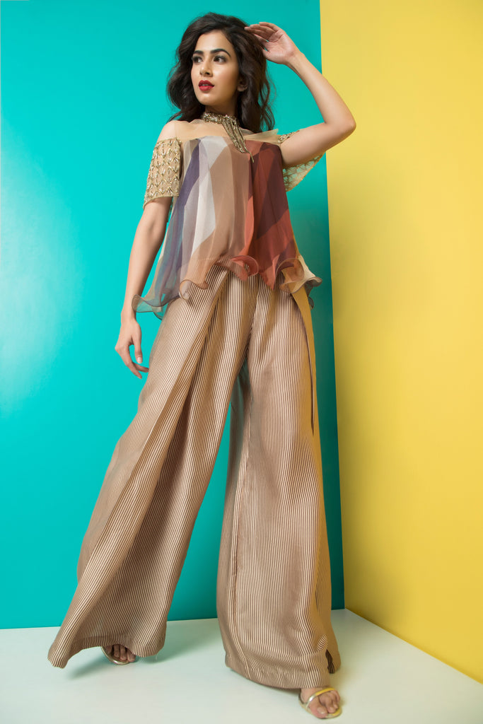 Brown Glass Sleeve Top with Fold Pants-Indo Western-Pallavi Jaipur-6degree.store