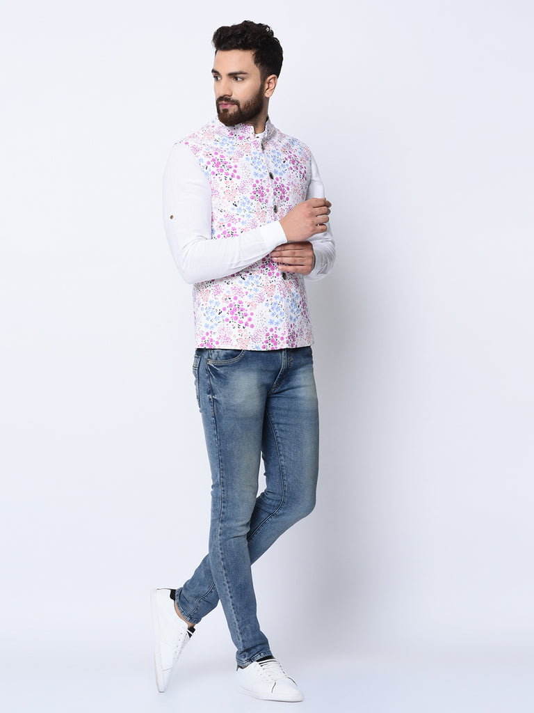 Blossom Binge White Bundi Jacket-Mens Jacket-SPRING BREAK-6degree.store