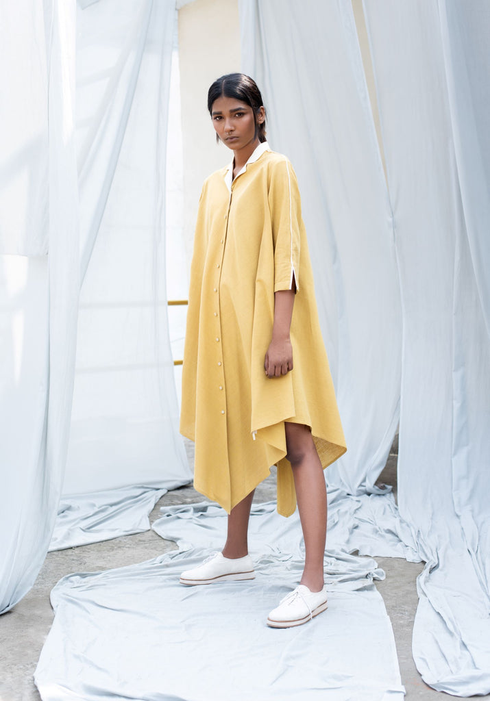 Citrine Rhombus Shirt Dress-Dress-ANTAR AGNI-6degree.store