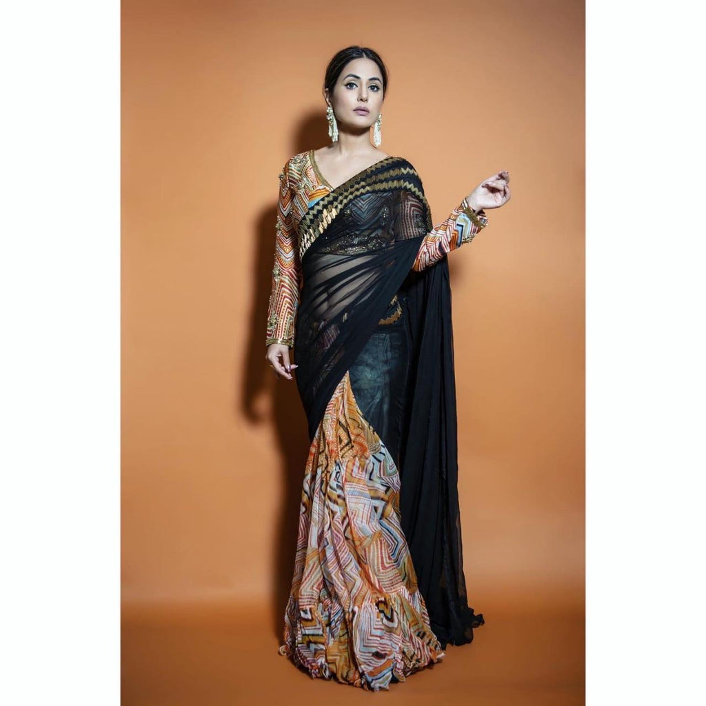 Hina Khan | Mustard Saree with Palla and Embroidered Blouse-Indo Western-Pallavi Jaipur-6degree.store