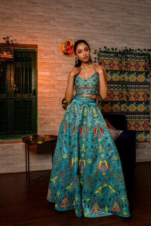 Hand embroidered crop top and skirt in blue-Jumpsuit-JUHI BENGANI-6degree.store
