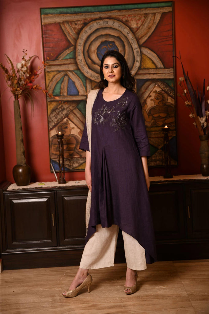 Aubergine pleated tunic-Indian Wear-LINEN BLOOM-6degree.store