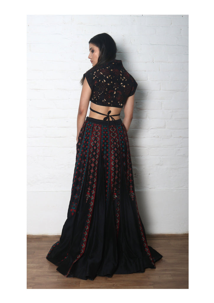 Black Chanderi Cutwork Blouse-Blouse-CHANDRIMA-6degree.store
