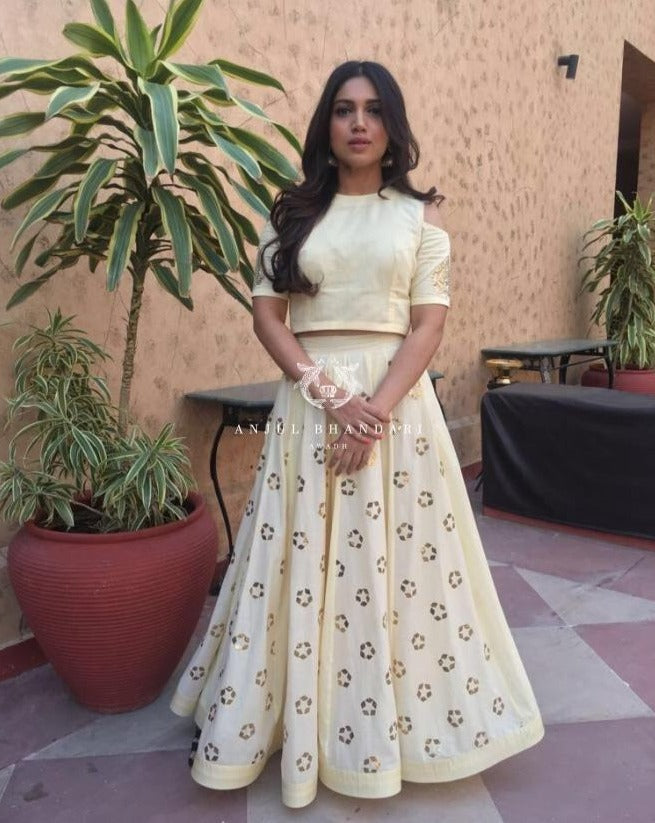 Bhumi Pednekar in Lemon Yellow Lehenga set-Lehenga Set-Anjul Bhandari-6degree.store