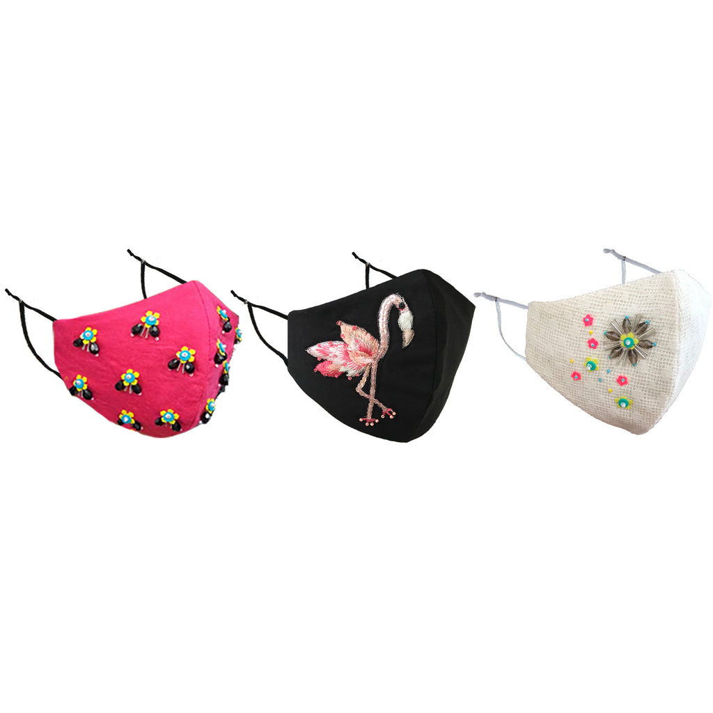 Blossom set of 3 masks (BirdFly, Flamingo, Lily)-Mask-OUR LOVE MASK-6degree.store
