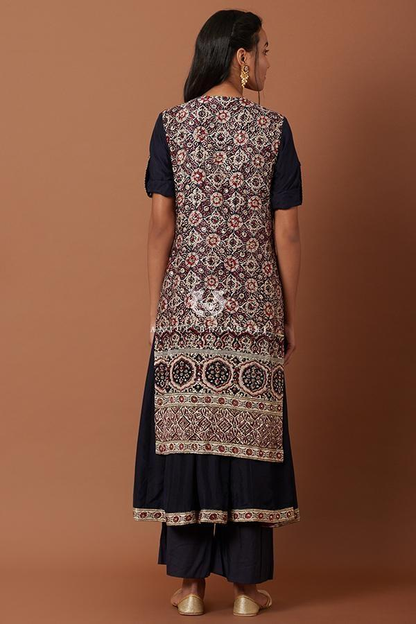 Blue, Maroon & Cream Flare kurta and palazzo set-Kurta Set-Anjul Bhandari-6degree.store
