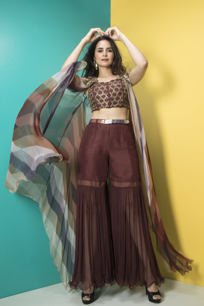 Brown Embroidered Corset,Sharara and Cape Set-Indo Western-Pallavi Jaipur-6degree.store