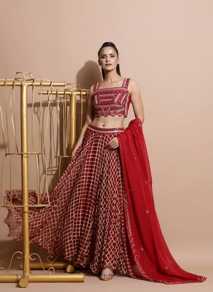 Deep Red Crop Top with Skirt, Dupatta and belt-Indo Western-Pallavi Jaipur-6degree.store