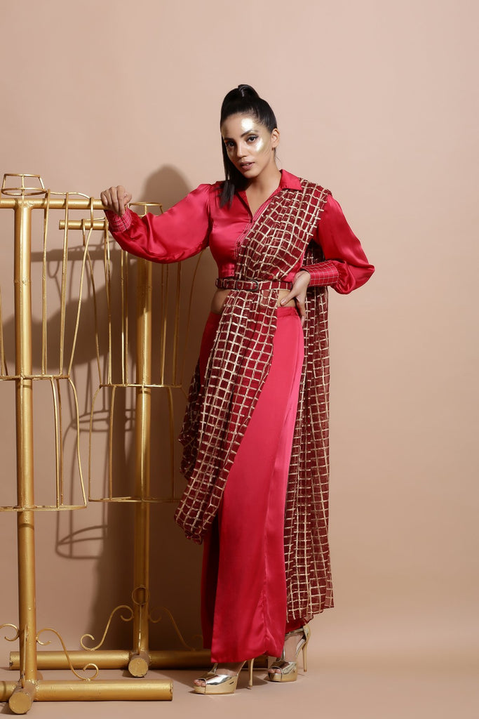 Deep red Saree with Wrap Pants and Printed Belt-Indo Western-Pallavi Jaipur-6degree.store