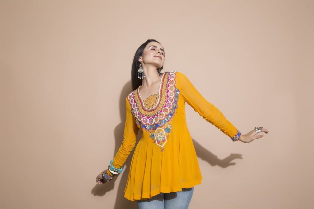 Embroidered Tangerine Tunic-Indo Western-Pallavi Jaipur-6degree.store