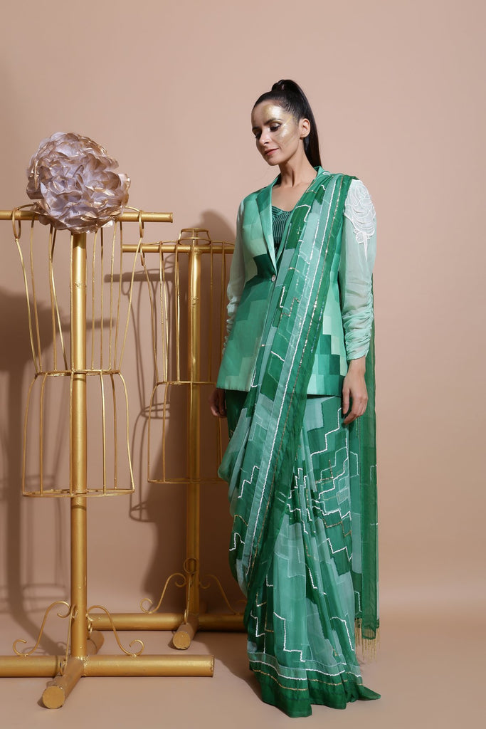 Green Embroidered Saree with Printed Coat and Crop top-Indo Western-Pallavi Jaipur-6degree.store