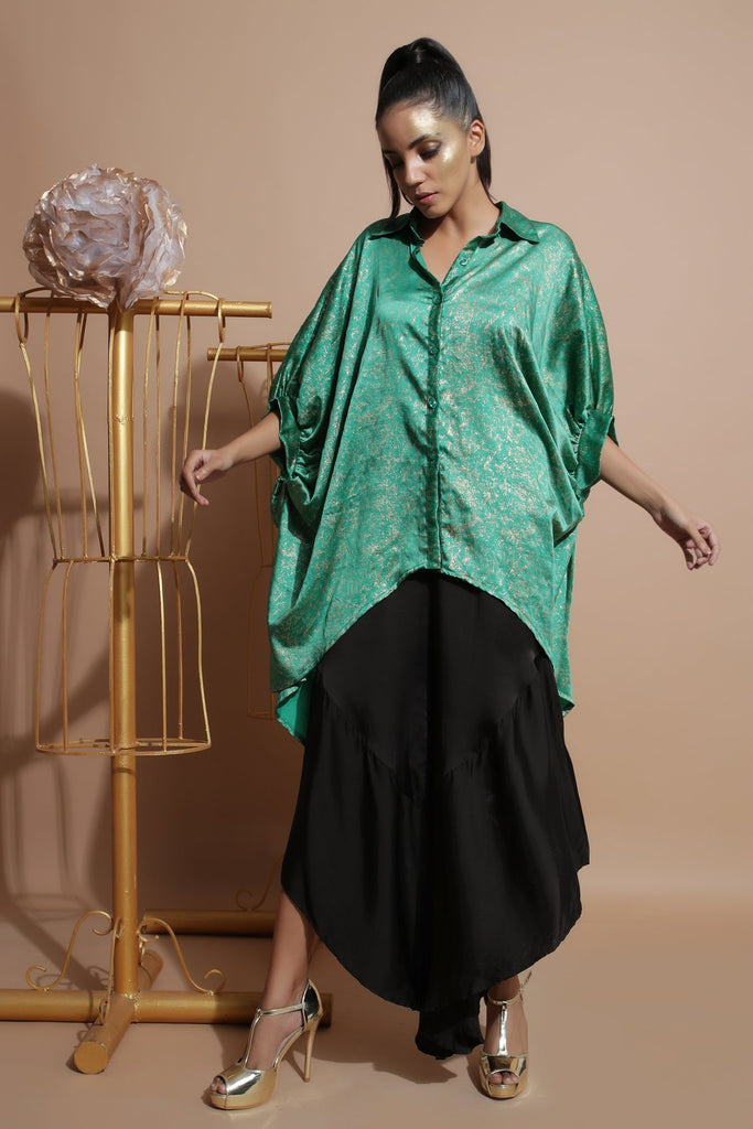 Green shirt tunic with black frill pants-Indo Western-Pallavi Jaipur-6degree.store