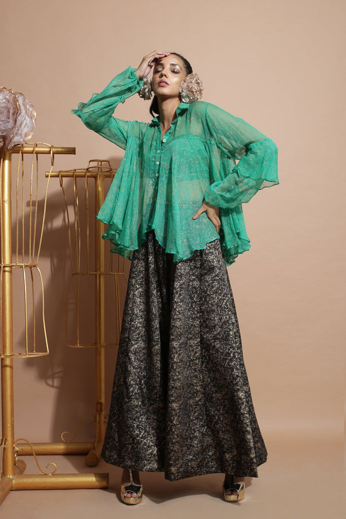 Green shirt tunic with tube.-Indo Western-Pallavi Jaipur-6degree.store