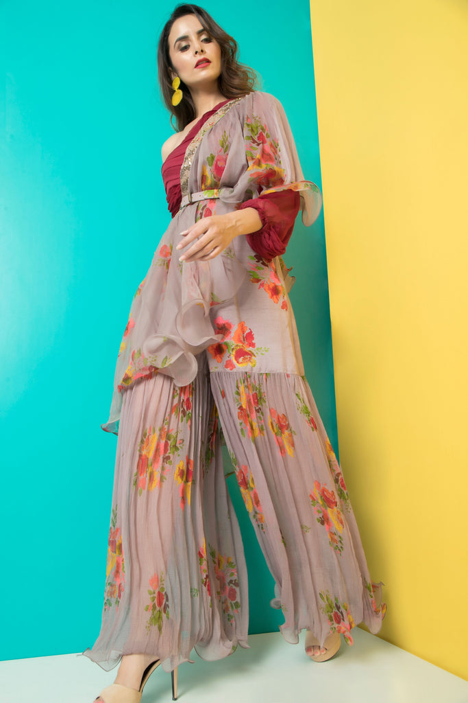 Grey Sharara with Maroon Pleated Crop Top-Indo Western-Pallavi Jaipur-6degree.store