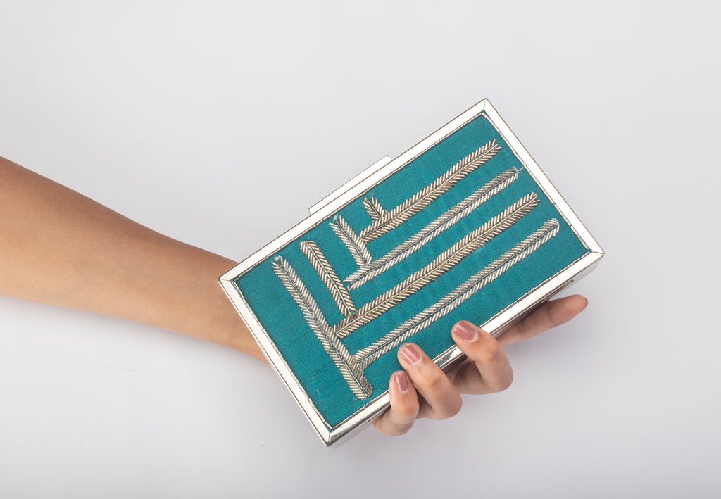 Up - Down Blue Clutch-Accessories-VARELI BAFNA-6degree.store