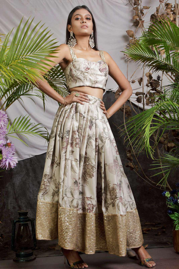 Printed short lehenga set-Lehenga-HOUSE OF BUENO-6degree.store