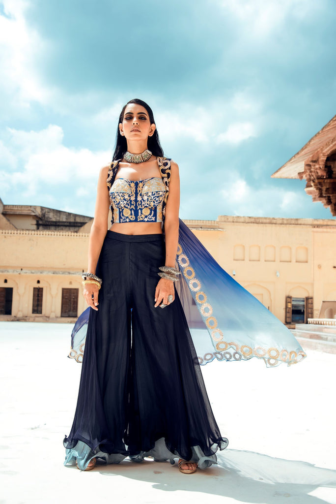 Midnight Blue Set of Corset and Pants-Indo Western-Pallavi Jaipur-6degree.store
