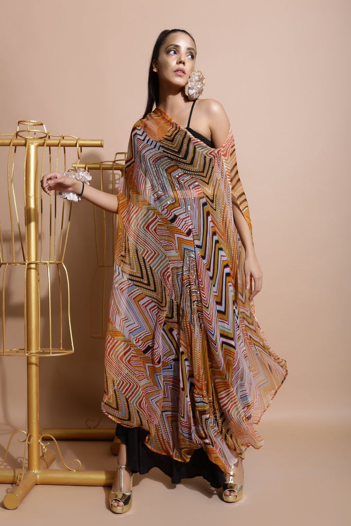 Mustard Off Shoulder Cape with Pants and Printed Belt-Indo Western-Pallavi Jaipur-6degree.store