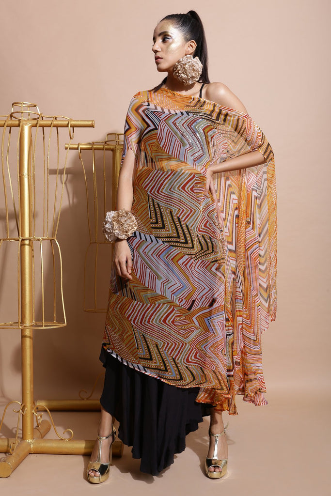 Mustard Printed Off shoulder Cape-Indo Western-Pallavi Jaipur-6degree.store