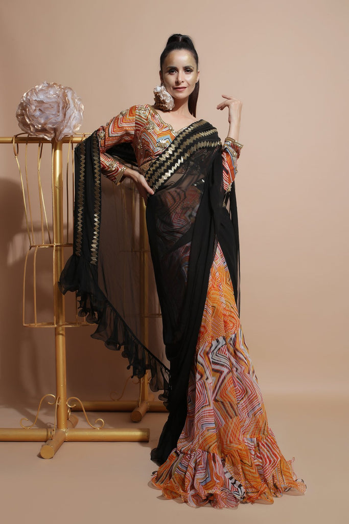 Mustard Saree with Palla and Embroidered Blouse-Indo Western-Pallavi Jaipur-6degree.store