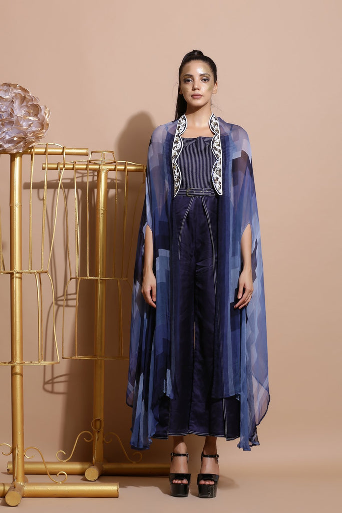 Navy Abstract print embroidered Cape-Indo Western-Pallavi Jaipur-6degree.store