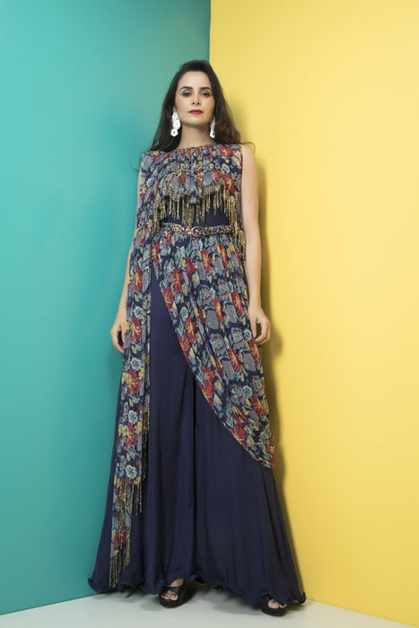 Navy Blue Jumpsuit Saree with Belt-Indo Western-Pallavi Jaipur-6degree.store