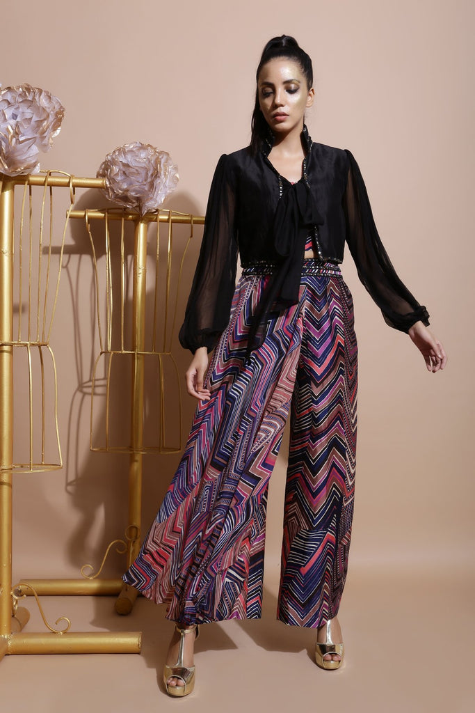 Navy Culottes with Printed Crop Top and Tie-Up Bolero-Indo Western-Pallavi Jaipur-6degree.store