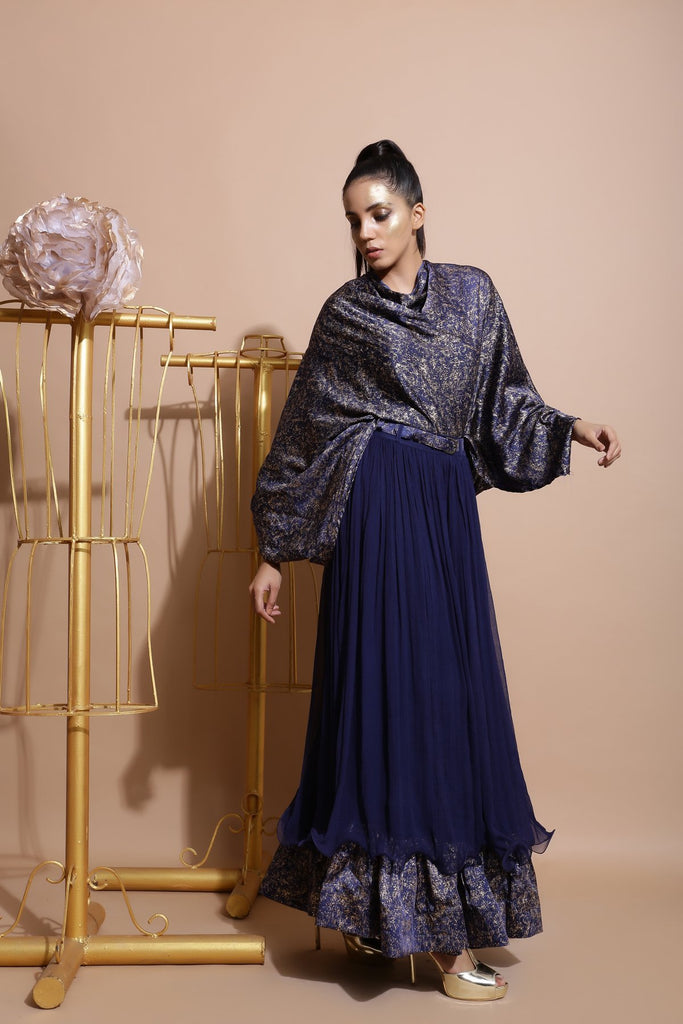 Navy shirt balloon sleeve cape top.-Indo Western-Pallavi Jaipur-6degree.store