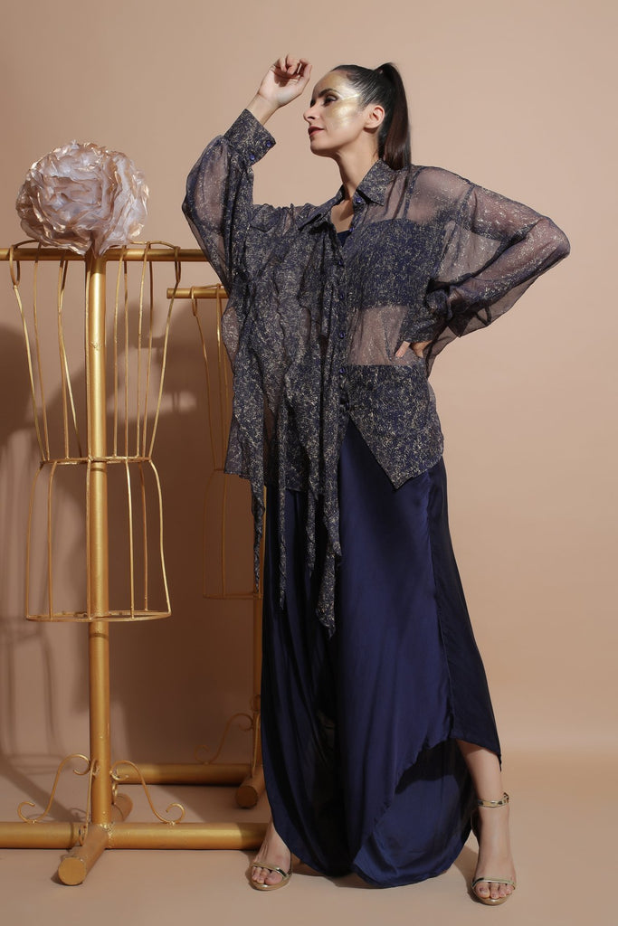 Navy shirt with tube and drape pants.-Indo Western-Pallavi Jaipur-6degree.store