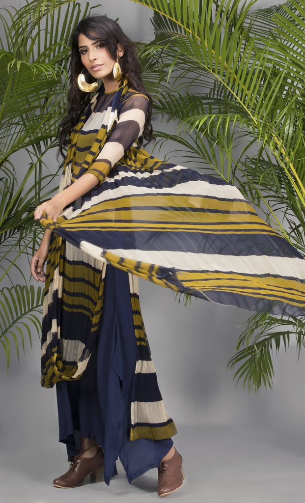 Olive and Navy Drape Kurta with Pants-Indo Western-Pallavi Jaipur-6degree.store