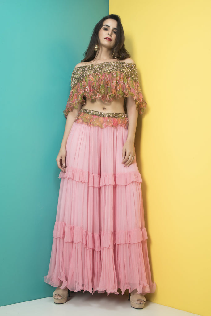 Pink sharara pants with off shoulder top-Indo Western-Pallavi Jaipur-6degree.store