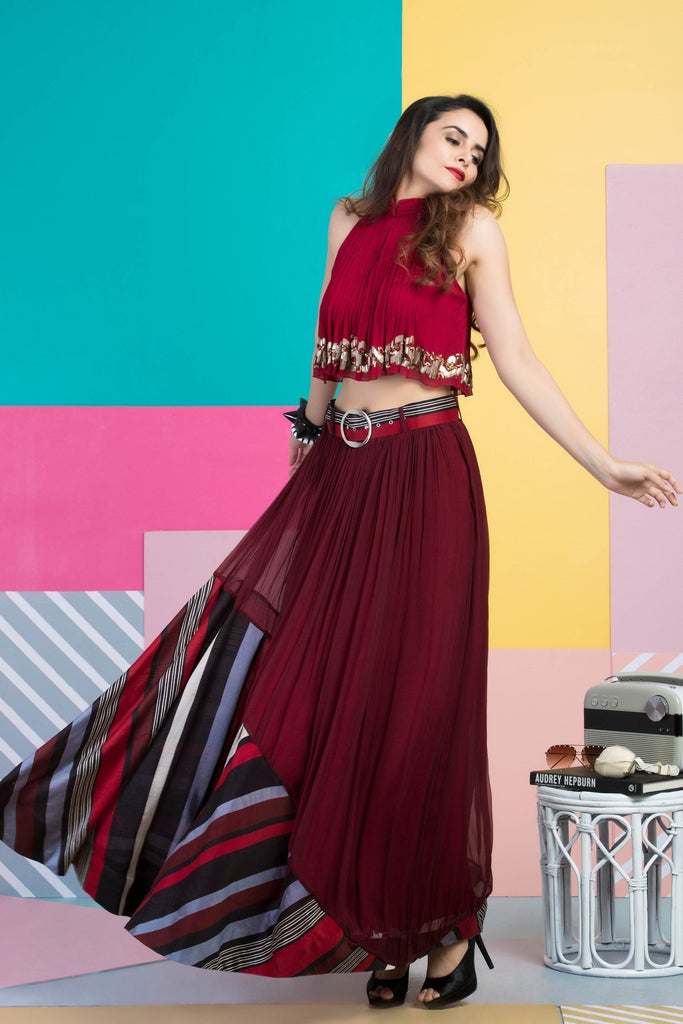 Red Halter Top with Skirt-Indo Western-Pallavi Jaipur-6degree.store