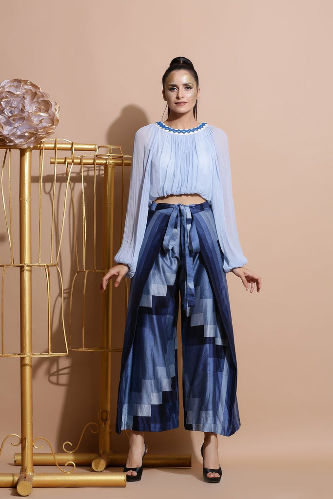 Sky blue balloon Top with Navy wrap Pants-Indo Western-Pallavi Jaipur-6degree.store