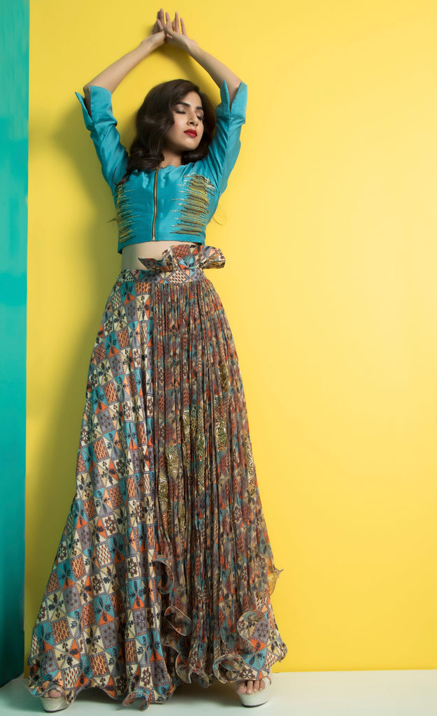 Teal Crop Top with Panel Skirt-Indo Western-Pallavi Jaipur-6degree.store